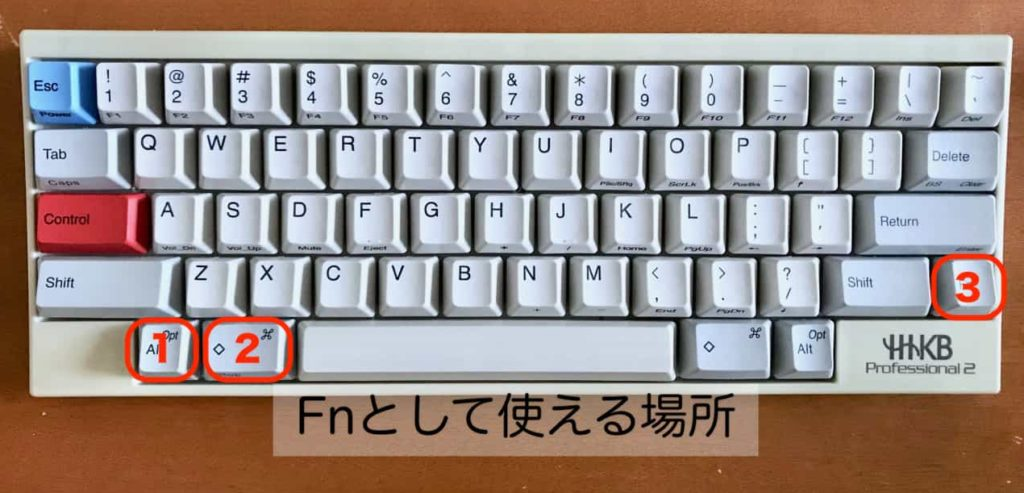 HHKBでFnキーとして使えるキー